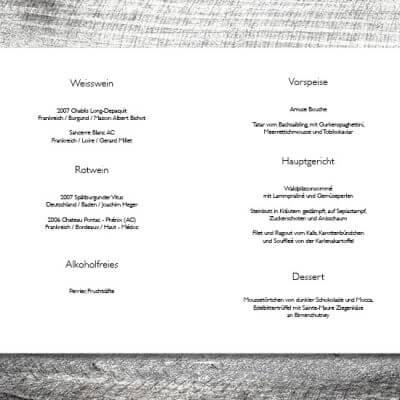 kartlerei karten drucken hochzeit heiraten menue menuekarte silberner hirsch 2 3 400x400 - Menükarte Silberner Hirsch
