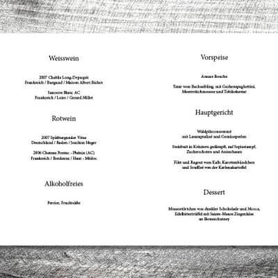 kartlerei karten drucken hochzeit heiraten menue menuekarte wood 2 3 400x400 - Menükarte Wood