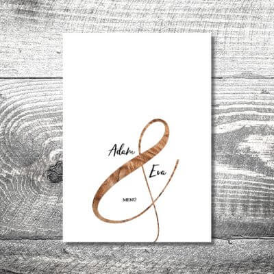 kartlerei karten drucken hochzeit heiraten menue menuekarte wood 400x400 - Menükarte Wood