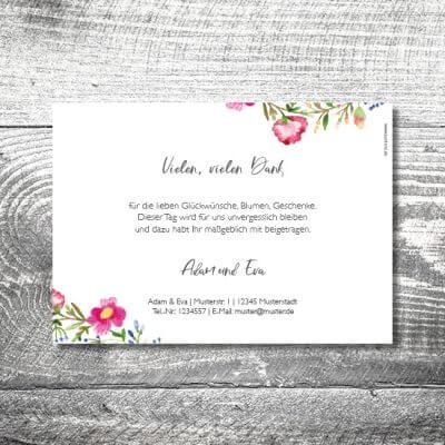 kartlerei karten drucken hochzeitseinladung heiraten dankeskarte bluemchen 2 400x400 - Danke Blümchen | 2-Seitig | ab 0,70 €