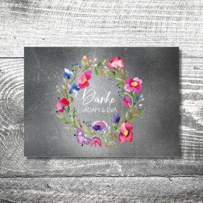 kartlerei karten drucken hochzeitseinladung heiraten dankeskarte bluemchen 400x400 - Danke Blümchen | 4-Seitig | ab 1,00 €