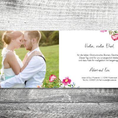 kartlerei karten drucken hochzeitseinladung heiraten dankeskarte bluemchen innen 400x400 - Danke Blümchen | 4-Seitig | ab 1,00 €