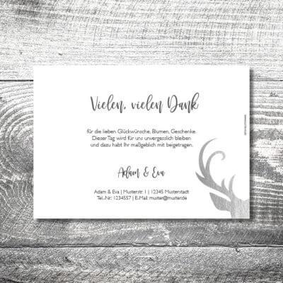 kartlerei karten drucken hochzeitseinladung heiraten dankeskarte silberner hirsch 2 400x400 - Danke Silberner Hirsch | 2-Seitig | ab 0,70 €