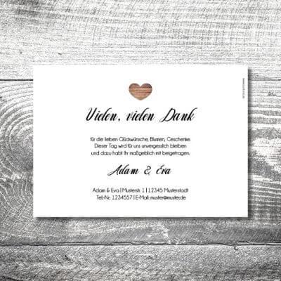 kartlerei karten drucken hochzeitseinladung heiraten dankeskarte vintagholz 2 400x400 - Danke Vintageholz | 2-Seitig | ab 0,70 €
