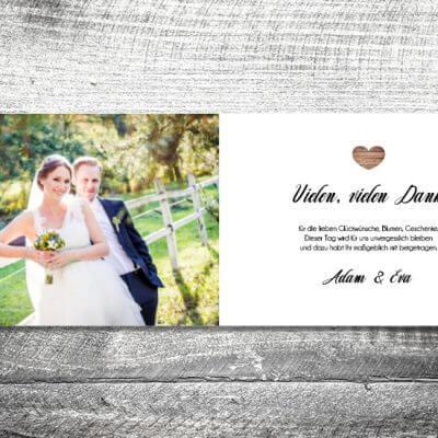 kartlerei karten drucken hochzeitseinladung heiraten dankeskarte vintagholz innen 400x400 - Danke Vintageholz | 4-Seitig | ab 1,00 €