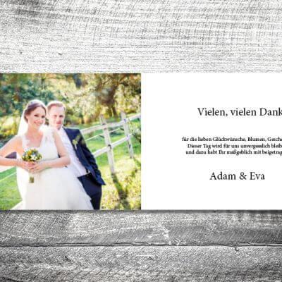 kartlerei karten drucken hochzeitseinladung heiraten dankeskarte wood innen 400x400 - Danke Wood | 4-Seitig | ab 1,00 €