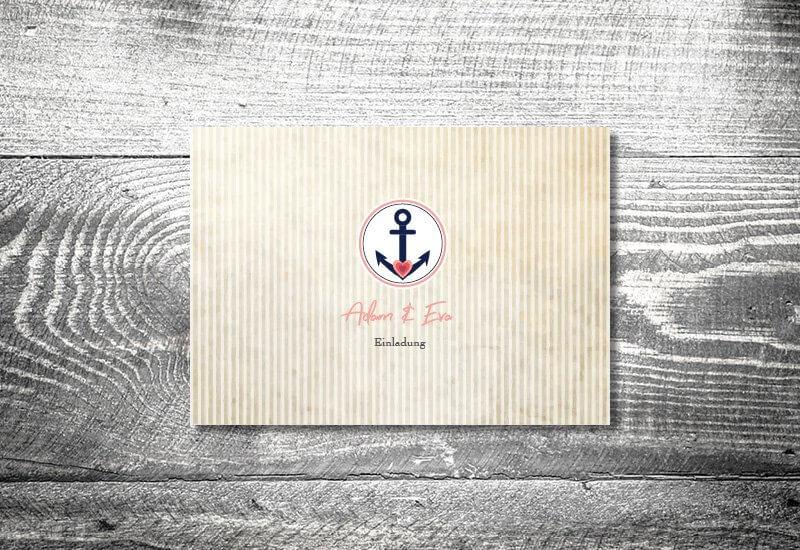 kartlerei karten drucken hochzeitseinladung heiraten einladung anker - Hochzeitskarten Set
