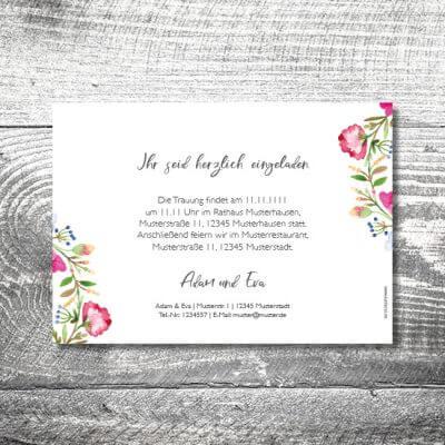 kartlerei karten drucken hochzeitseinladung heiraten einladung bluemchen 2 400x400 - Hochzeit Blümchen | 2-Seitig  | ab 0,70 €