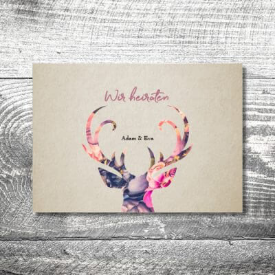 kartlerei karten drucken hochzeitseinladung heiraten einladung floralhirsch 400x400 - Hochzeit Floralhirsch | 4-Seitig | ab 1,00 €