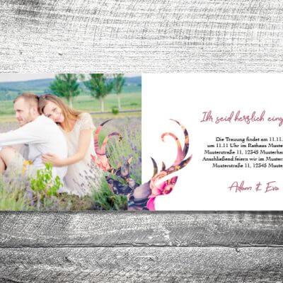kartlerei karten drucken hochzeitseinladung heiraten einladung floralhirsch innen 400x400 - Hochzeit Floralhirsch   4-Seitig   ab 1,00 €