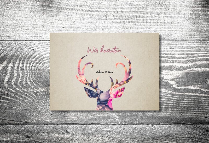 kartlerei karten drucken hochzeitseinladung heiraten einladung floralhirsch - Hochzeitskarten Set