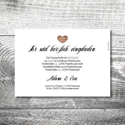 kartlerei karten drucken hochzeitseinladung heiraten einladung vintagholz 2 400x400 - Hochzeit Vintageholz | 2-Seitig  | ab 0,70 €