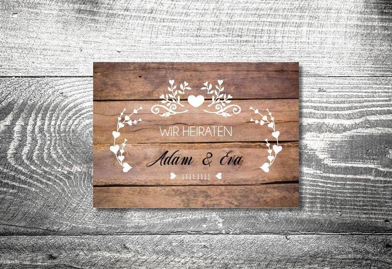 kartlerei karten drucken hochzeitseinladung heiraten einladung vintagholz - Hochzeitskarten Set