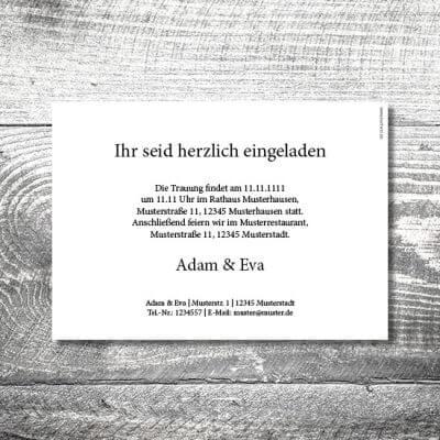kartlerei karten drucken hochzeitseinladung heiraten einladung wood 2 400x400 - Hochzeit Wood | 2-Seitig  | ab 0,70 €