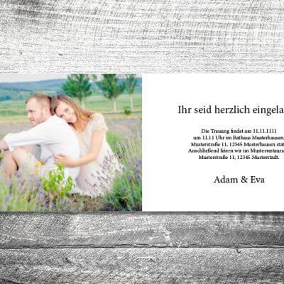 kartlerei karten drucken hochzeitseinladung heiraten einladung wood innen 400x400 - Hochzeit Wood | 4-Seitig | ab 1,00 €