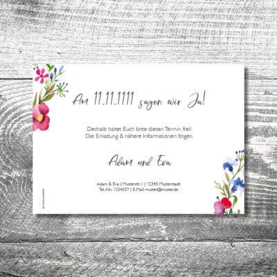 kartlerei karten drucken hochzeitseinladung heiraten save the date bluemchen 2 400x400 - Save the Date Blümchen | 2-Seitig | ab 0,70 €