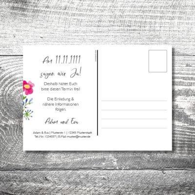 kartlerei karten drucken hochzeitseinladung heiraten save the date bluemchen postkarte 400x400 - Save the Date Blümchen Postkarte | 2-Seitig | ab 0,70 €