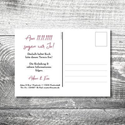 kartlerei karten drucken hochzeitseinladung heiraten save the date floralhirsch postkarte 400x400 - Save the Date Floralhirsch Postkarte | 2-Seitig | ab 0,70 €