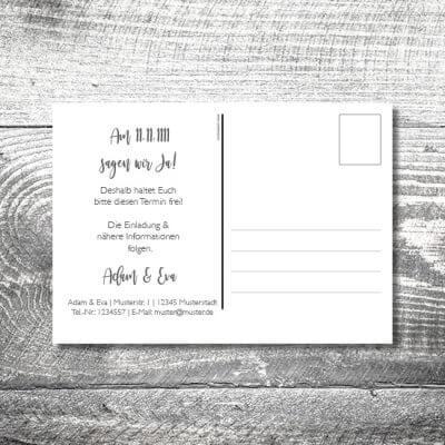 kartlerei karten drucken hochzeitseinladung heiraten save the date silberner hirsch postkarte 400x400 - Save the Date Silberner Hirsch Postkarte | 2-Seitig | ab 0,70 €