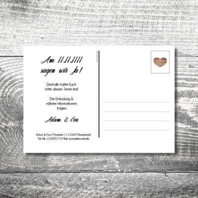 kartlerei karten drucken hochzeitseinladung heiraten save the date vintagholz postkarte 400x400 - Save the Date Vintageholz Postkarte | 2-Seitig | ab 0,70 €