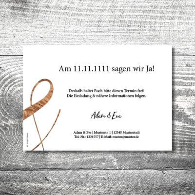Save the Date Wood | 2-Seitig | ab 0,70 €