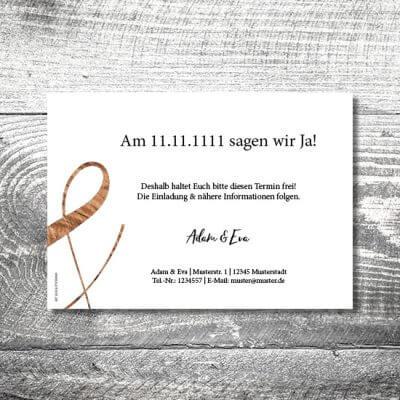 kartlerei karten drucken hochzeitseinladung heiraten save the date wood 2 400x400 - Save the Date Wood | 2-Seitig | ab 0,70 €