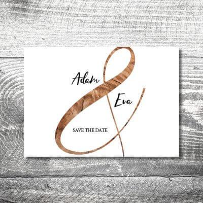 kartlerei karten drucken hochzeitseinladung heiraten save the date wood 400x400 - Save the Date Wood | 2-Seitig | ab 0,70 €