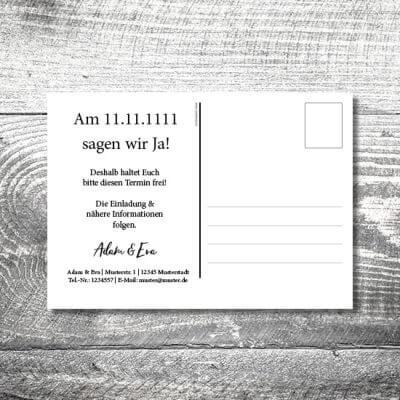 kartlerei karten drucken hochzeitseinladung heiraten save the date wood postkarte 400x400 - Save the Date Wood Postkarte | 2-Seitig | ab 0,70 €