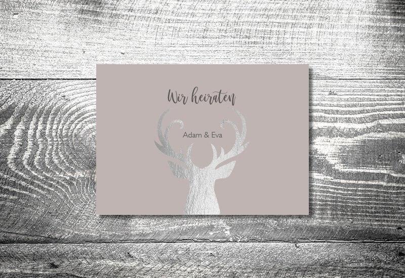 kartlerei karten drucken hochzeitseinladung heiraten silberner hirsch - Hochzeitskarten Set