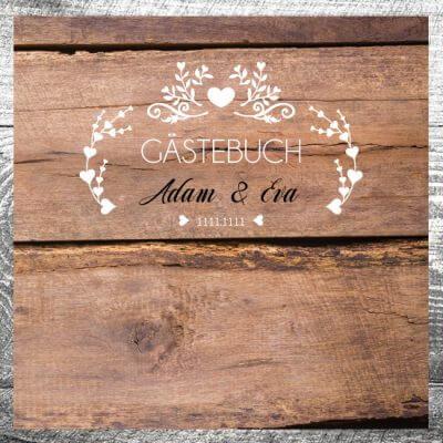 kartlerei karten drucken lassen hochzeitseinladung heiraten hochzeit gaestebuch6 400x400 - Gästebuch Vintageholz | ab 55,00 €