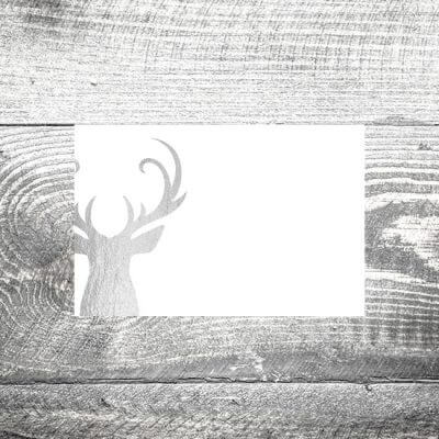 kartlerei tischkarte hochzeit silbener hirsch 400x400 - Tischkarte Silberner Hirsch
