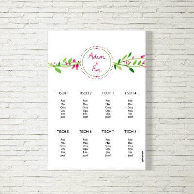tischplan sitzplan hochzeit kartlerei drucken gestalten hochzeitseinladung einladung hochzeit blumenkranz 400x400 - Tischplan Hochzeit Blumenkranz