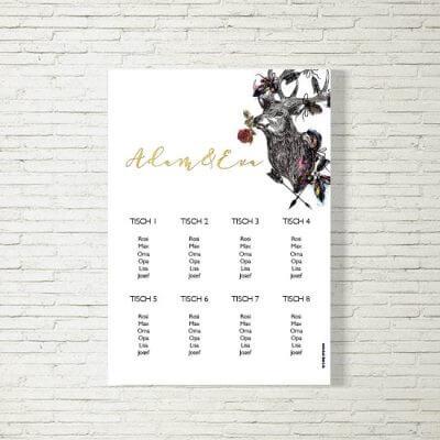 tischplan sitzplan hochzeit kartlerei drucken gestalten hochzeitseinladung einladung hochzeit hirschbluemchen 400x400 - Tischplan Hochzeit Hirschblümchen