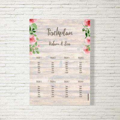 Tischplan Hochzeit Rosenholz