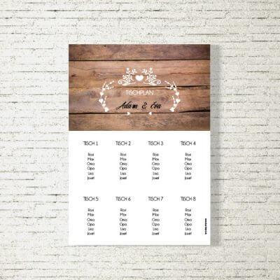 tischplan sitzplan hochzeit kartlerei drucken gestalten hochzeitseinladung einladung hochzeit vintageholz 400x400 - Tischplan Hochzeit Vintageholz