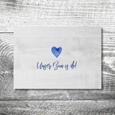 kartlerei karten drucken geburtskarten drucken babykarten bayrisch geburt aquarellherz junge 400x400 - Aquarellherz Junge | 2-Seitig | ab 0,70 €
