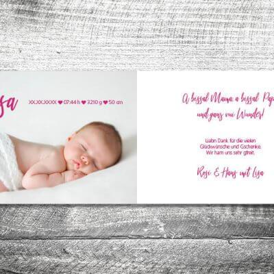 kartlerei karten drucken geburtskarten drucken babykarten bayrisch geburt aquarellherz maedchen 2 3 400x400 - Aquarellherz Mädchen | 4-Seitig | ab 1,00 €
