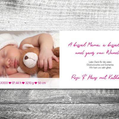 kartlerei karten drucken geburtskarten drucken babykarten bayrisch geburt lausmadl 2 3 400x400 - Lausmadl | 4-Seitig | ab 1,00 €