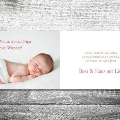 kartlerei karten drucken geburtskarten drucken babykarten bayrisch geburt lebkuchenherz maedchen 2 3 400x400 - Lebkuchenherz Madl | 4-Seitig | ab 1,00 €