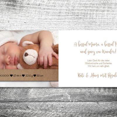 kartlerei karten drucken geburtskarten drucken babykarten bayrisch geburt stickherz 2 3 400x400 - Baby & Kind Karten