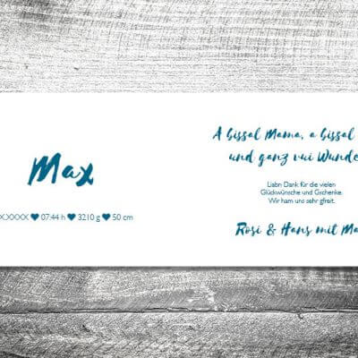 kartlerei karten drucken geburtskarten drucken babykarten bayrisch geburt streifen junge 2 3 400x400 - Streifen Bua | 4-Seitig | ab 1,00 €