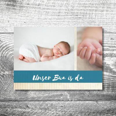 kartlerei karten drucken geburtskarten drucken babykarten bayrisch geburt streifen junge 400x400 - Streifen Bua | 2-Seitig | ab 0,70 €