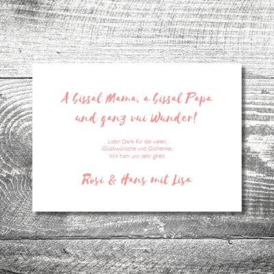 kartlerei karten drucken geburtskarten drucken babykarten bayrisch geburt streifen maedchen 2 400x400 - Streifen Madl | 2-Seitig | ab 0,70 €