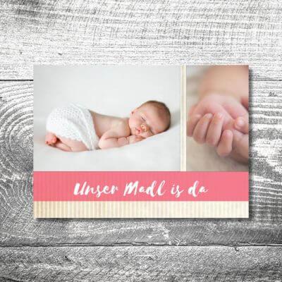 kartlerei karten drucken geburtskarten drucken babykarten bayrisch geburt streifen maedchen 400x400 - Streifen Madl | 2-Seitig | ab 0,70 €