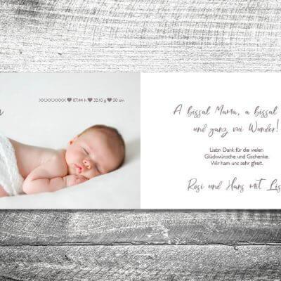 kartlerei karten drucken geburtskarten drucken babykarten bayrisch geburt vintage 2 3 400x400 - Vintage Baby | 4-Seitig | ab 1,00 €