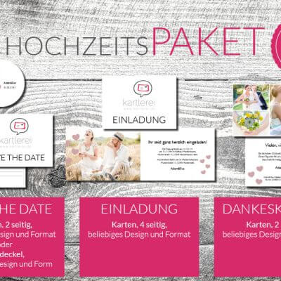 kartlerei karten drucken hochzeitskarten hochzeitspaket4 400x400 - Hochzeit  Hochzeitspaket S