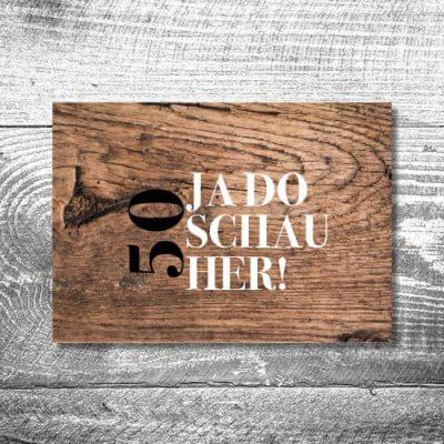 kartlerei karten drucken bayern geburtstagseinladungskarten bayrisch heimatgefuehl da schaugst 400x400 - Da schaugst | 2-Seitig | ab 0,70 €