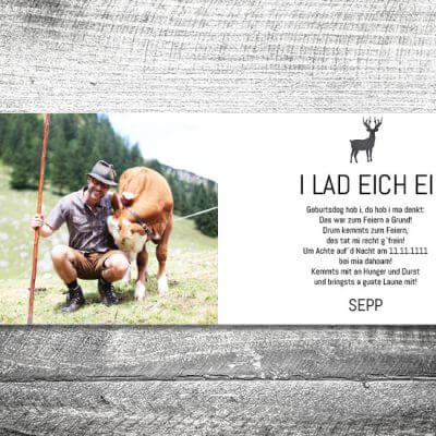 kartlerei karten drucken bayern geburtstagseinladungskarten bayrisch heimatgefuehl grauer hirsch 2 3 400x400 - Grauer Hirsch | 4-Seitig | ab 1,00 €