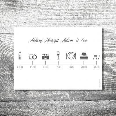 kartlerei karten drucken einladungskarten hochzeit einlegeblatt timeline zeitplan 400x400 - Einlegblatt Hochzeitskarten Timeline | 1-Seitig bedruckt