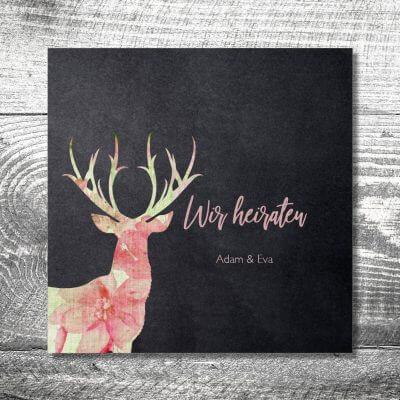 kartlerei karten drucken hochzeit bayrisch trachtenhochzeit 400x400 - Hochzeit Leinenhirsch | 6-Seitig | ab 1,90 €